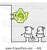 Pal Clipart of a Royalty-Free (RF) Clipart Illustration of Two Stick Figure Women Standing Under a Tea Sign by NL Shop