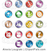 Pal Clipart of a Set of Ninteen Colorful Entertainment and Business Buttons on White by Alexia Lougiaki
