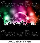 Pal Clipart of a Silhouetted Audience Against Colorful Music Speakers by KJ Pargeter