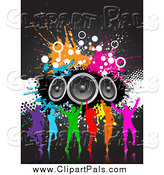 Pal Clipart of a Silhouetted Colorful Dance Group with Grunge and Speakers by KJ Pargeter