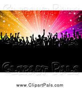 Pal Clipart of a Silhouetted Crowd Against a Rainbow Starry Burst by KJ Pargeter