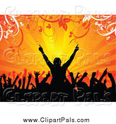 Pal Clipart of a Silhouetted Crowd Cheering Against Orange Rays and Foliage by KJ Pargeter