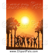 Pal Clipart of a Silhouetted Crowd Dancing Against a Tropical Sunset by KJ Pargeter