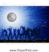 Pal Clipart of a Silhouetted Crowd of Dancers over a Blue Disco Burst by KJ Pargeter