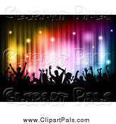 Pal Clipart of a Silhouetted Crowd over Colorful Lines and Sparkles by KJ Pargeter