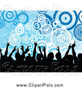 Pal Clipart of a Silhouetted Crowd over Grungy Blue Circles by KJ Pargeter