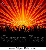 Pal Clipart of a Silhouetted Crowd over Orange and Red Rays by KJ Pargeter