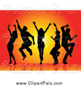 Pal Clipart of a Silhouetted Dancers over Orange by KJ Pargeter