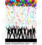 Pal Clipart of a Silhouetted Dancing Group Under Confetti and Party Balloons on Solid White by KJ Pargeter