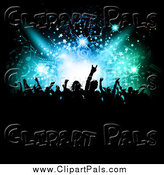Pal Clipart of a Silhouetted Partying Crowd Under Patterns in Lights by KJ Pargeter