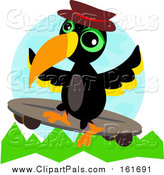 Pal Clipart of a Skateboarding Toucan Bird by