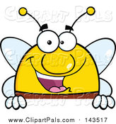 Pal Clipart of a Smiling Bee - Cartoon Style by Hit Toon