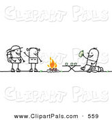 Pal Clipart of a Smiling Camping Couple Talking to a Man Drinking by a Fire by NL Shop