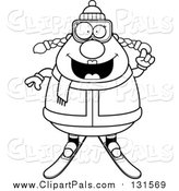 Pal Clipart of a Smiling Chubby Female Snow Skier - Black Outline Style by Cory Thoman