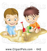 Pal Clipart of a Smiling White Boy and Girl Building Sand Castles Together by AtStockIllustration