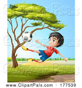 Pal Clipart of a Sporty Asian Boy Leaping and Kicking a Soccer Ball by Graphics RF