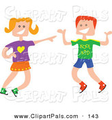 Pal Clipart of a Square Head Boy and Girl Laughing Together by Prawny