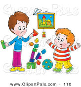 Pal Clipart of a Stack of Colorful Blocks Tumbling While Two Boys Play by Alex Bannykh