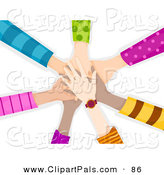 Pal Clipart of a Team of Children's Hands Piled While Making a Pact by BNP Design Studio