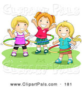 Pal Clipart of a Three Happy Young Girls Playing with Hula Hoops by BNP Design Studio