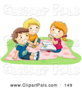 Pal Clipart of a Tio of Children - a Girl and Two Boys Sitting on a Blanket and Telling Stories by BNP Design Studio
