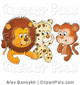 Pal Clipart of a Trio of Friends, a Cute Baby Lion, Leopard and Monkey, Chatting by Alex Bannykh