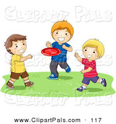 Pal Clipart of a Trio of Happy Boys Playing with a Flying Disc by BNP Design Studio