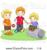 Pal Clipart of a Trio of Happy Boys Playing with Yo Yos by BNP Design Studio