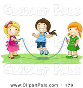 Pal Clipart of a Trio of Happy Girls Playing with a Jump Rope by BNP Design Studio