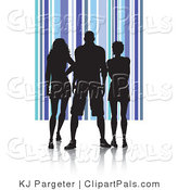Pal Clipart of a Trio of Silhouetted Adults Against a Blue Striped Background by KJ Pargeter
