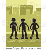 Pal Clipart of a Trio of Silhouetted Boys in a City by Prawny