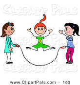 Pal Clipart of a Trio of Stick Girls Jumping Rope by Pams Clipart