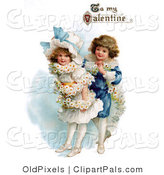 "Pal Clipart of a Vintage Valentine of a Sweet Boy Wrapping His Girlfriend in a White Daisy Flower Garland with ""To My Valentine"" Text, Circa 1890 by OldPixels"