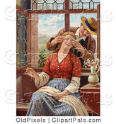 Pal Clipart of a Vintage Victorian Scene of a Man Reaching in Through an Open Window, Covering His Wife's Eyes As She Sews, Circa 1850 by OldPixels