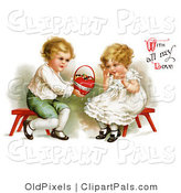 "Pal Clipart of a Vintage Victorian Scene of a Sweet Little Boy Sitting on a Red Stool About to Kneel, Holding out a Basket of Candy to a Girl and ""With All My Love"" Text, by Ellen H. Clapsaddle, Circa 1912 by OldPixels"