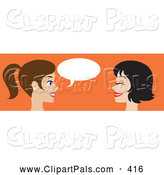 Pal Clipart of a Website Banner of Two Women Talking over Orange by Rosie Piter