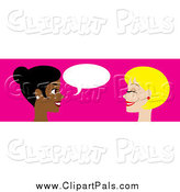 Pal Clipart of a Website Header of Two Women Talking by Rosie Piter