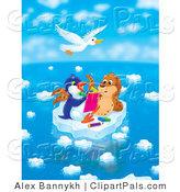 Pal Clipart of a White Seagull Flying Above a Seal Chatting with a Penguin Who Is Drawing in a Book on a Floating Ice Sheet on a Beautiful Day by Alex Bannykh