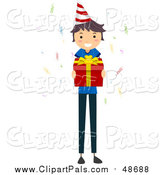 Pal Clipart of a White Stick Birthday Boy Holding a Gift by BNP Design Studio