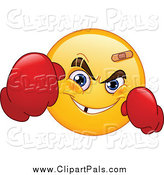 Pal Clipart of a Yellow Emoticon Boxer by Yayayoyo