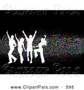 Pal Clipart of a Young White Silhouetted Group of People Dancing over Sparkly Colorful Dots on Black by KJ Pargeter