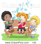 Pal Clipart of an African American Boy and White Girls Blowing Bubbles on a Bench by BNP Design Studio