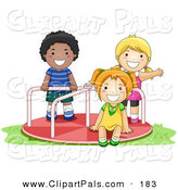 Pal Clipart of an African American Boy and White Girls Playing on a Playground Roundabout by BNP Design Studio