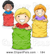 Pal Clipart of an African American Boy, White Boy and White Girl Playing in a Sack Race by BNP Design Studio