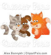 Pal Clipart of an Animal Trio of a Cute Cat, Puppy and Fox Chatting in a Group by Alex Bannykh