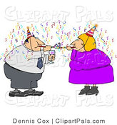 Pal Clipart of an Obese Couple Using Nose Makers at a Party by Djart