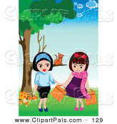 Pal Clipart of an Orange Cat Sitting on a Tree Branch, Watching Two Girls by Mayawizard101