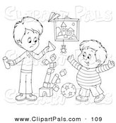 Pal Clipart of an Outline Design of a Stack of Blocks Tumbling While Two Boys Play by Alex Bannykh