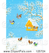 Pal Clipart of Birds Around a Feeder on a Winter Day by Alex Bannykh