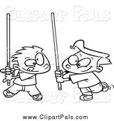 Pal Clipart of Black and White Boys Playing with Light Sabres by Toonaday